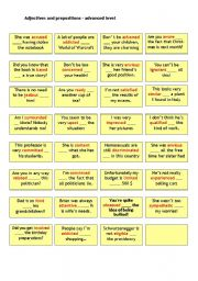 English Worksheet: Adjectives and prepositions (advanced) - cards with solution on the back