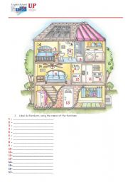 English Worksheet: Parts of the House and Prepositions - In, On, Under, Behind