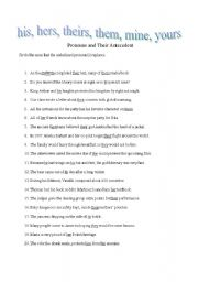 English worksheets: Pronouns and Their Antecedent
