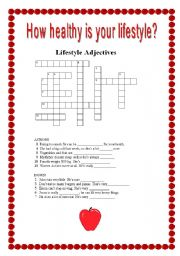 Printables Healthy Lifestyle Worksheets worksheet healthy lifestyle crosswords english crosswords