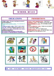 English Worksheet: SCHOOL  RULES : prohibitions and obligations