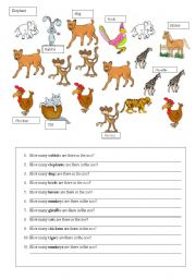 English Worksheet: how many/there is-are