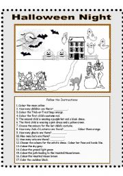 English Worksheets: Halloween Night - Follow the Instructions