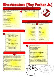 English Worksheets: SONG!!! Ghostbusters [Ray Parker Jr.] - Printer-friendly version included