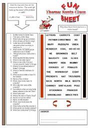 English Worksheet: Fun Sheet Theme Santa Claus