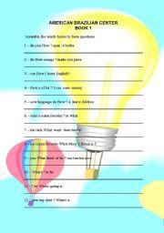 English Worksheets: Scrambled Questions