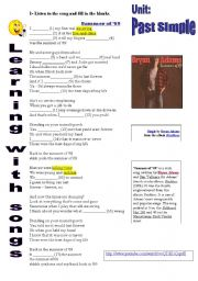 English Worksheet: Learnig with songs: