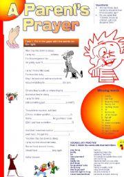 English Worksheets: A Parent�s Prayer (Funny poem+Vocab Ex.)