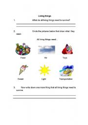 English Worksheet: Living and Nonliving Things Needs