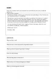 English Worksheets: Reading Comprehension - Journal