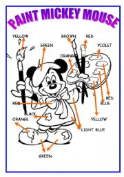 English Worksheet: paint mickey mouse 2