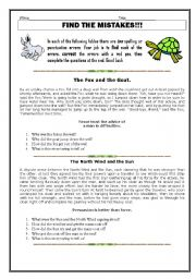English Worksheets: Aesops Fables - Find the Mistakes