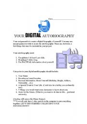 English Worksheets: Digital Autobiography