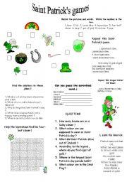 English Worksheet: saint Patrick´s games
