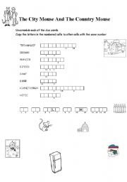 English worksheets: THE CITY MOUSE AND THE COUNTRY MOUSE
