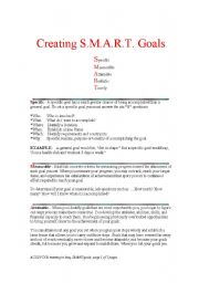 English Worksheets: creating S.M.A.R.T Goals