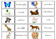 English Worksheets: cards animals