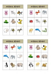 English Worksheet: animal bingo cards