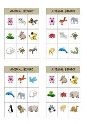 English Worksheets: animal bingo cards