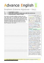 English Worksheet: EMPHASIS ( EXTREME ADJECTIVES)  Advance English