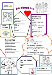 English Worksheet: all about me-for girls