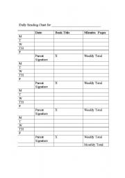 English Worksheet: Reading log
