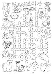 English Worksheet: Mammals Crossword