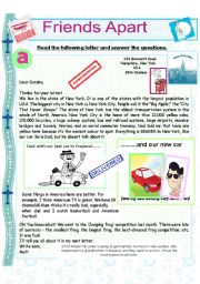 English Worksheet: Friends apart and the Jumping Frog Contest! Reading comprehension. (Superlative adjectives)