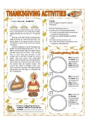 English Worksheets: NOVEMBER THEME:THANKSGIVING - ACTIVITIES  WITH KEY - (1/3) - ELEMENTARY