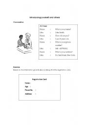 English Worksheets: introducing yourself and others