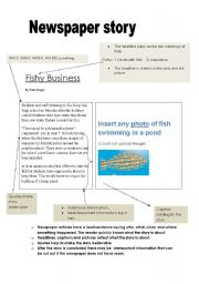 English Worksheet: Writing a newspaper article: Example and scaffold