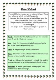 English Worksheet: Desert Island Discussion