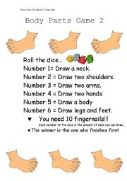 English Worksheets: Body Parts Game 2