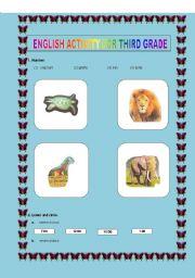 English Worksheets: ENGLISH ACTIVITY FOR THIRD GRADE