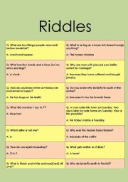 English Worksheets: Riddles for an indivudual stydents and grups