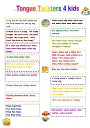 English Worksheet: Tongue Twisters for kids