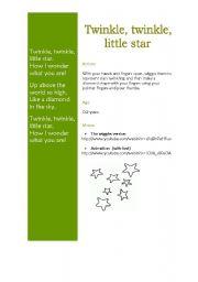 English Worksheet: Twinkle, twinkle little star song