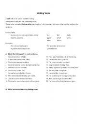 English Worksheet: Linking verbs