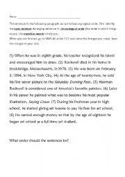 English Worksheets: Chronological Order