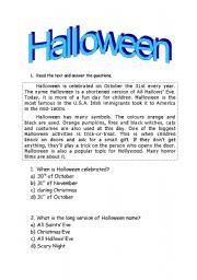 Halloween readings worksheets english worksheet halloween reading ibookread Read Online