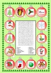English Worksheets: CHRISTMAS VOCABULARY AND WORDSEARCH - MOVIE THE NIGHTMARE BEFORE CHRISTMAS (part 2)