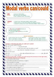 English Worksheet: Modal verbs can-could