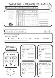 English Worksheets: Word fun - NUMBERS 1-10 (key included)