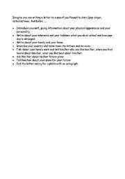 English Worksheets: Outline of a letter to a pop star