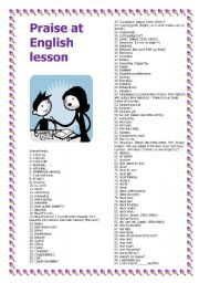 English Worksheets: Praise at English lesson