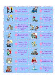 English Worksheets: Question Tag Domino-2