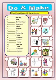 Do & Make worksheet, and match the correct picture, (+KEY)  do exercise, make a decision, make bed, do business, do harm, make love, make friends, make money, make food, do laundry, make a journey, make a mistake, do hair,  , etc