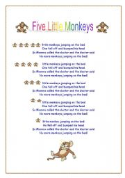 English Worksheet: Five little monkeys song lyrics