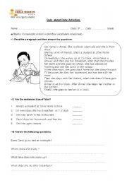 English Worksheets: daily activities
