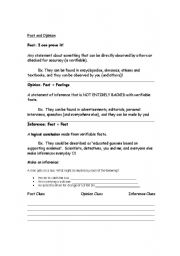 English Worksheets: Fact, Opinion and Inference Notes